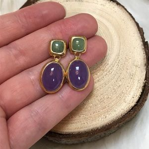 Vintage Purple & Mint Earrings